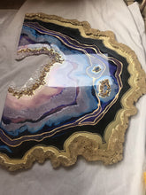 Load image into Gallery viewer, Purple and Gold amethyst geode - Custom Artwork 9 Amethyst Geode Original Artwork. COMMISSION