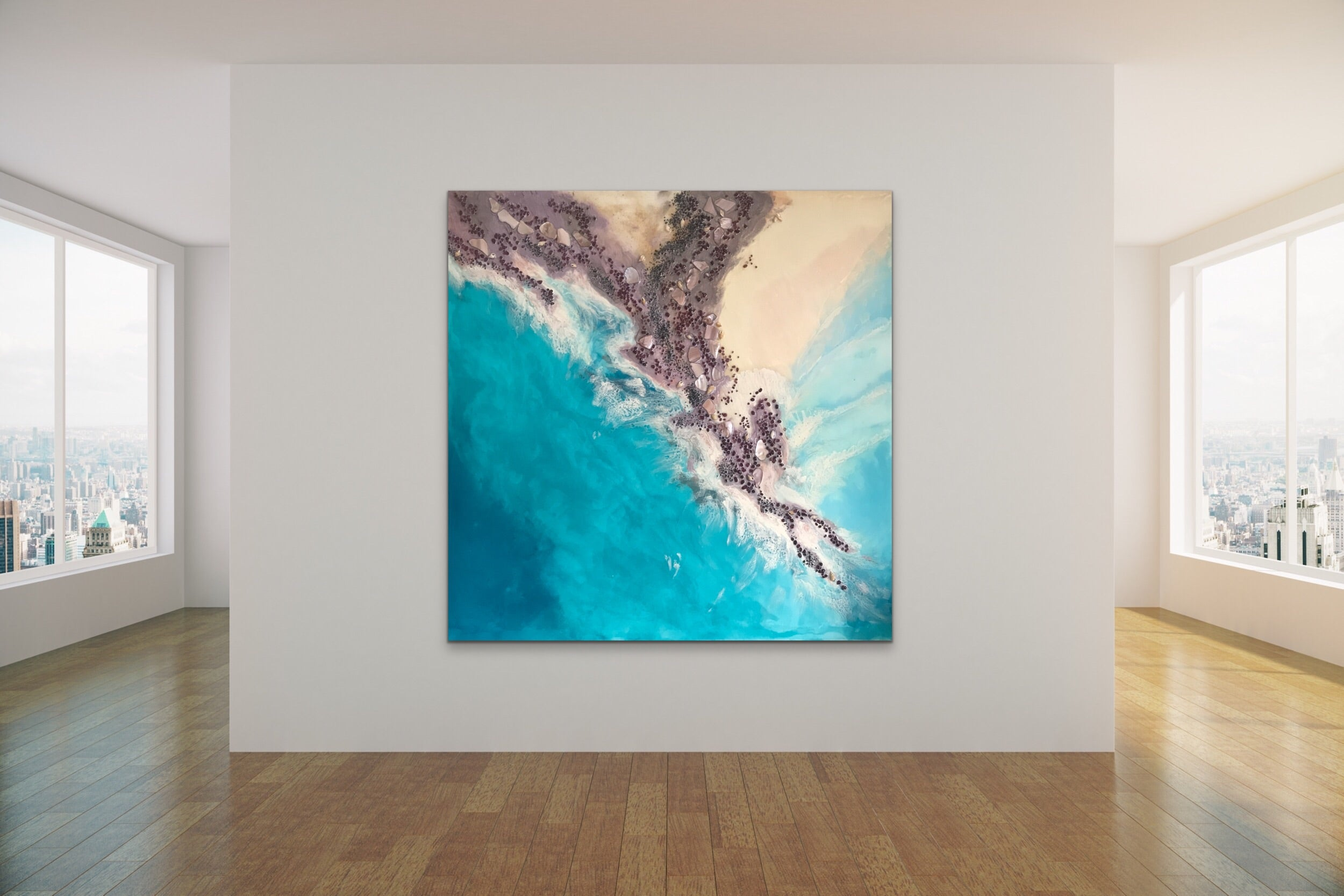 Teal Blue Ocean Wave. Byron Bay Magic. Original Artwork. Antuanelle 3 Magic with Mussels and Garnet. Abstract Seascape 90x90cm