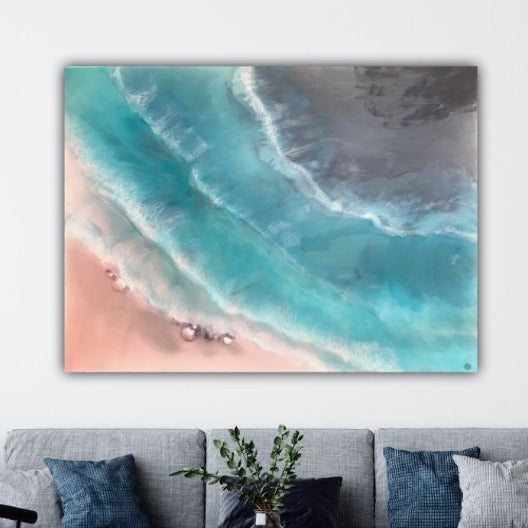 4 Coogee coastal. Blue and Pink Ocean. Original Artwork with Amethyst. 90x120 cm