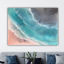 Load image into Gallery viewer, 4 Coogee coastal. Blue and Pink Ocean. Original Artwork with Amethyst. 90x120 cm