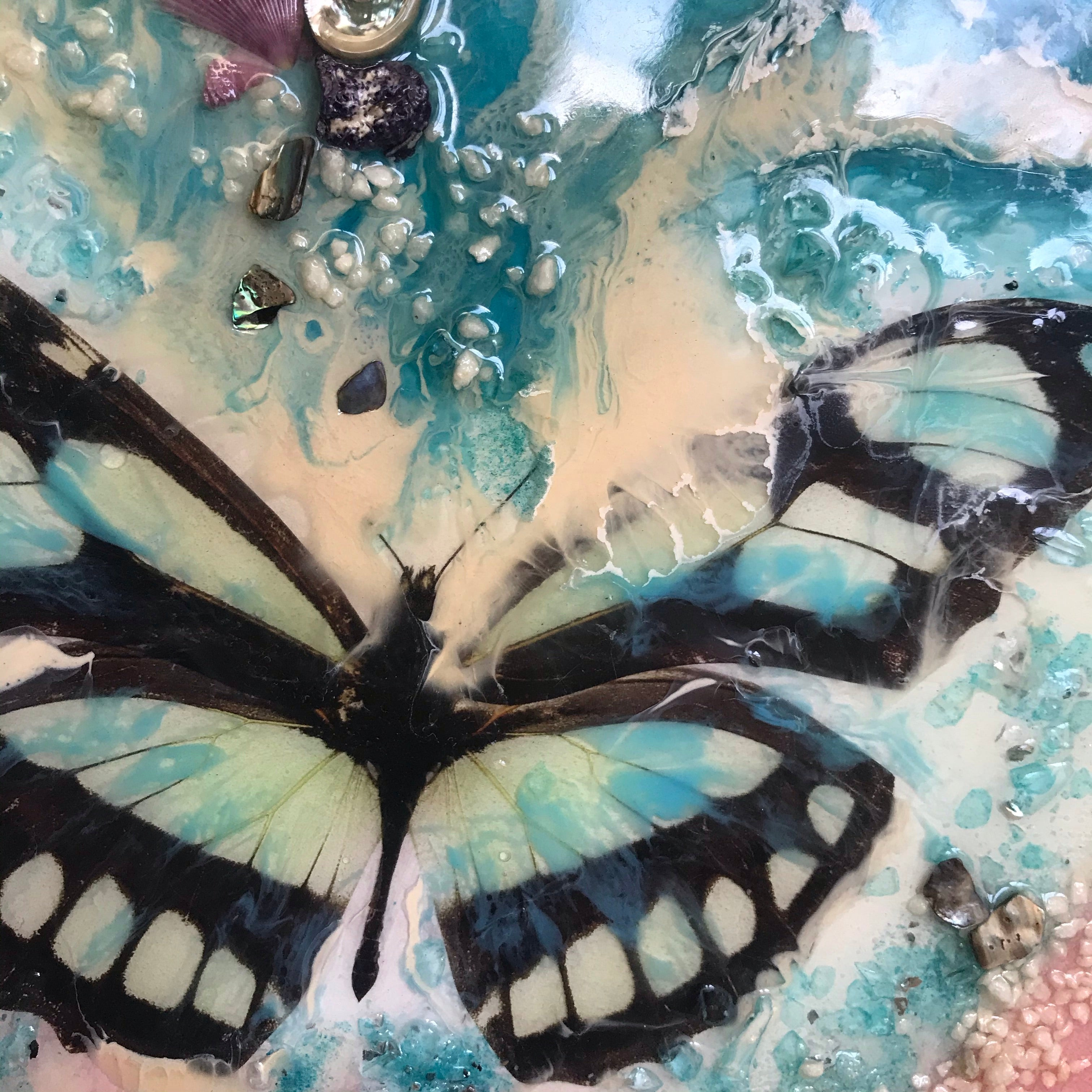 6 Butterfly Dream. Original Abstract Resin Artwork with Genuine Pearls