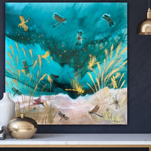 Load image into Gallery viewer, Gold Dragonflies Teal Seascape. Dragonflies in Golden light.Original Artwork