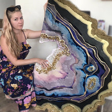 Load image into Gallery viewer, Purple and Gold amethyst geode - Custom Artwork 2 Amethyst Geode Original Artwork. COMMISSION