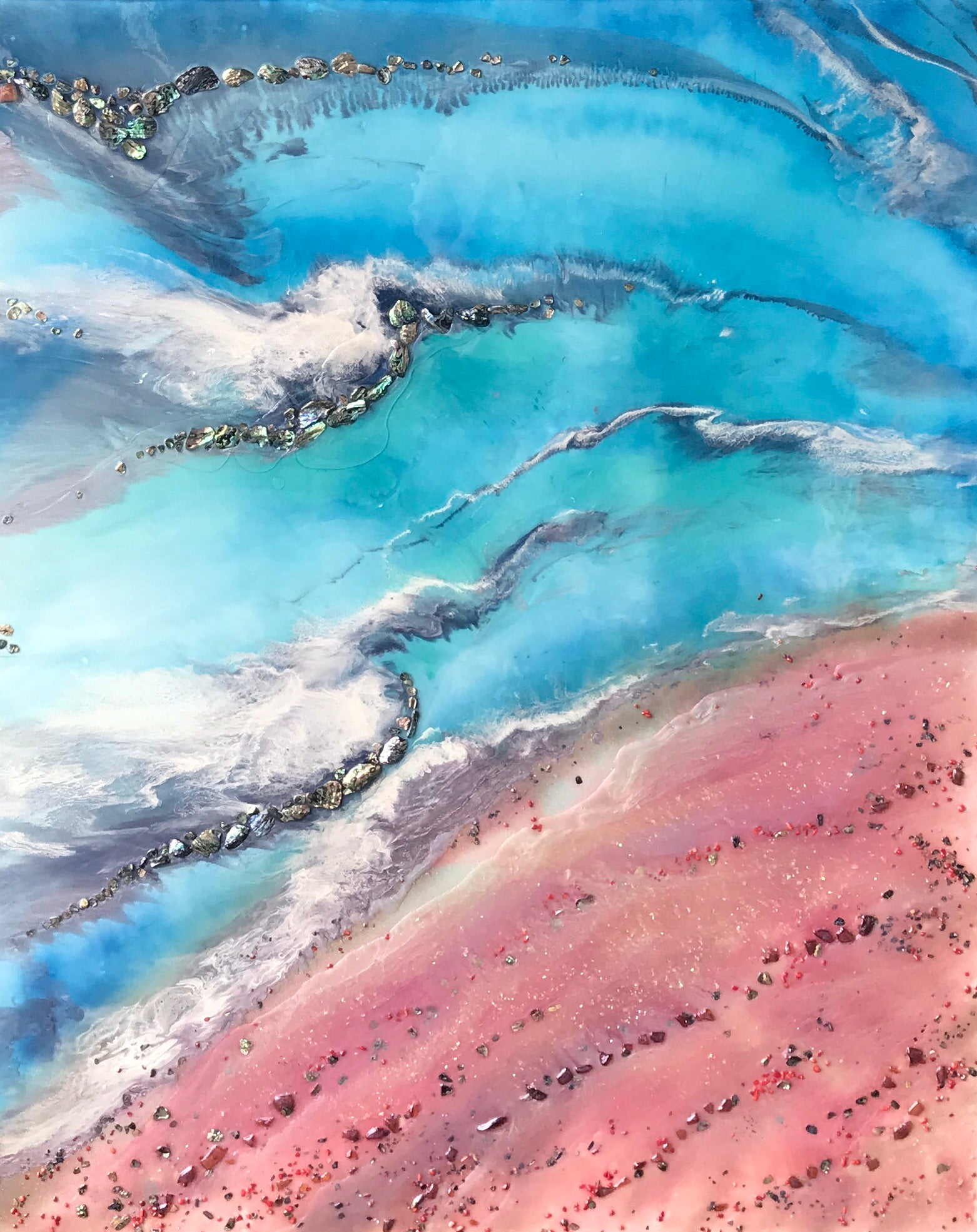 Teal and Pink Ocean Painting. Abstract Seascape Resin Artwork 2 Azure Coastline. Ocean. Original with Abalone Shells Coral 120x150cm.