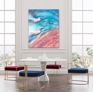 Teal and Pink Ocean Painting. Abstract Seascape Resin Artwork 5 Azure Coastline. Ocean. Original with Abalone Shells Coral 120x150cm.