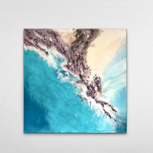 Teal Blue Ocean Wave. Byron Bay Magic. Original Artwork. Antuanelle 1 Magic with Mussels and Garnet. Abstract Seascape 90x90cm