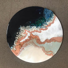 Load image into Gallery viewer, Navy and Teal Artwork. Abstract seascape. Jervis Bay. Antuanelle 4 Black White Crystal Geode. Pink Dune. Sapphire. Original Artwork