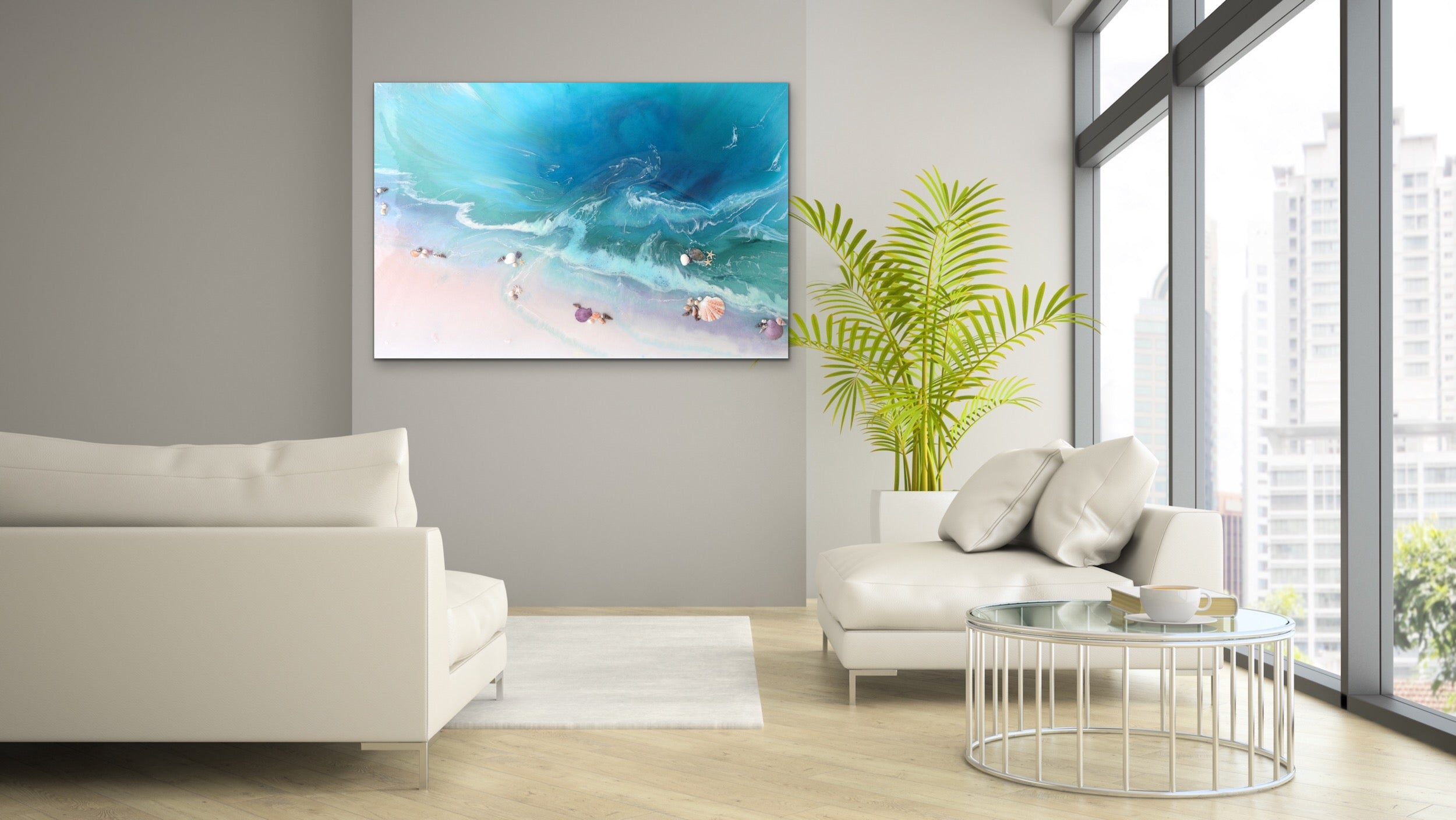 Abstract Seascape. Bright Teal. Bounty Dream. Art Print. Antuanelle 4 Dream Ocean Beach Wall. Limited Edition Print