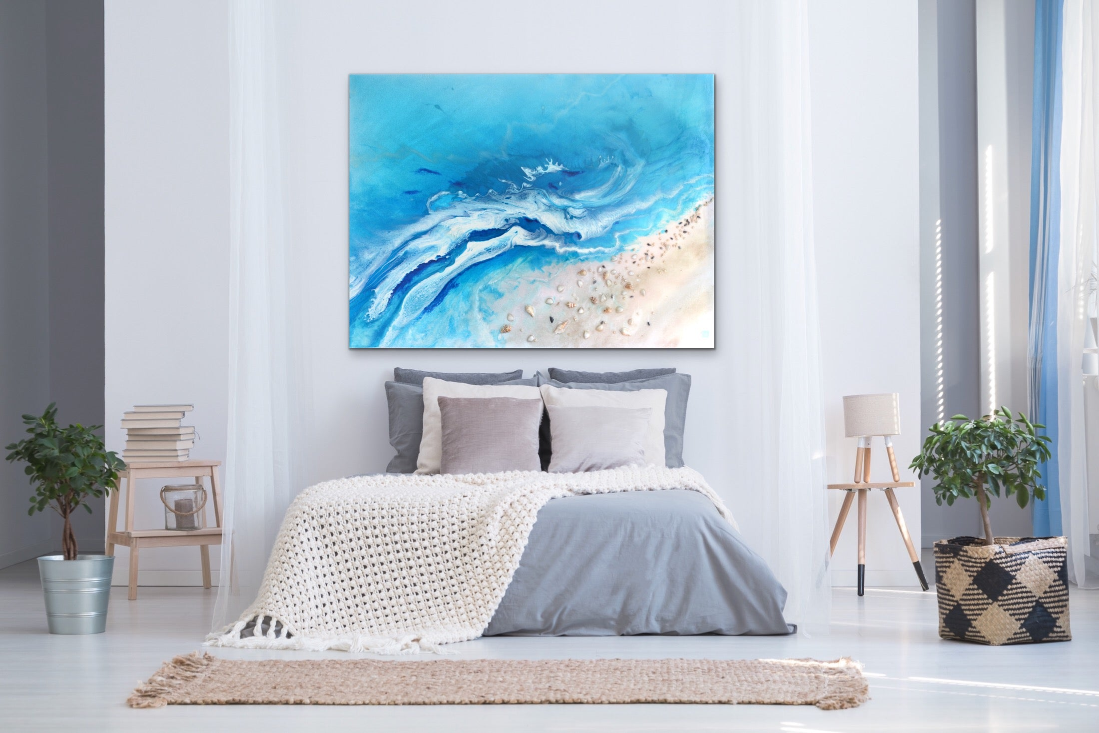 Abstract Seascape. Teal Ocean. Bali Utopia 4. Art Print. Antuanelle Limited Edition Print