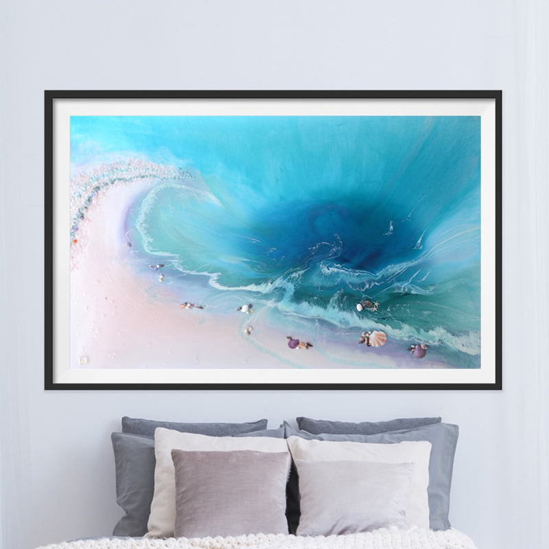 Abstract Ocean. Tropical Teal and pink. Bounty. Art Print. Antuanelle 1 Bounty Limited Edition Print