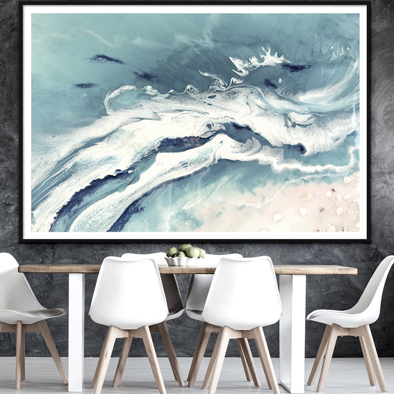 Abstract Seascape. Pastel Greys. Bali Utopia 2. Art Print. Antuanelle 1 Grey Neutral Artwork. Limited Edition Print