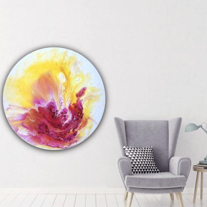Made to order. Yellow and pink. Abstract Floral Artwork. Joy. Antuanelle 2 Joy.Round Pink Resin COMMISSION - Custom Artwork