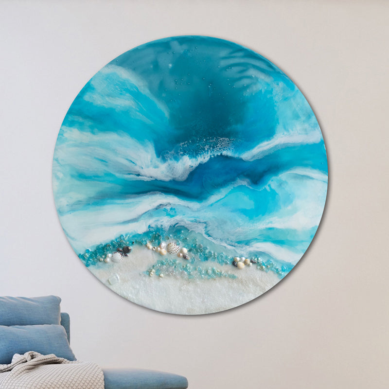 Round Abstract Sea. Teal and Blue. Whitsundays. Art Print. Antuanelle 1 Acrylic Beach Artwork. Perspex Print