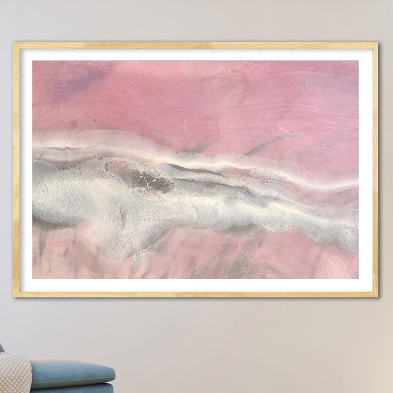 Abstract Coast. Rosy Pink Ocean. Blush Wave. Art Print. Antuanelle 1 Sands Coastal Artwork. Limited Edition Print