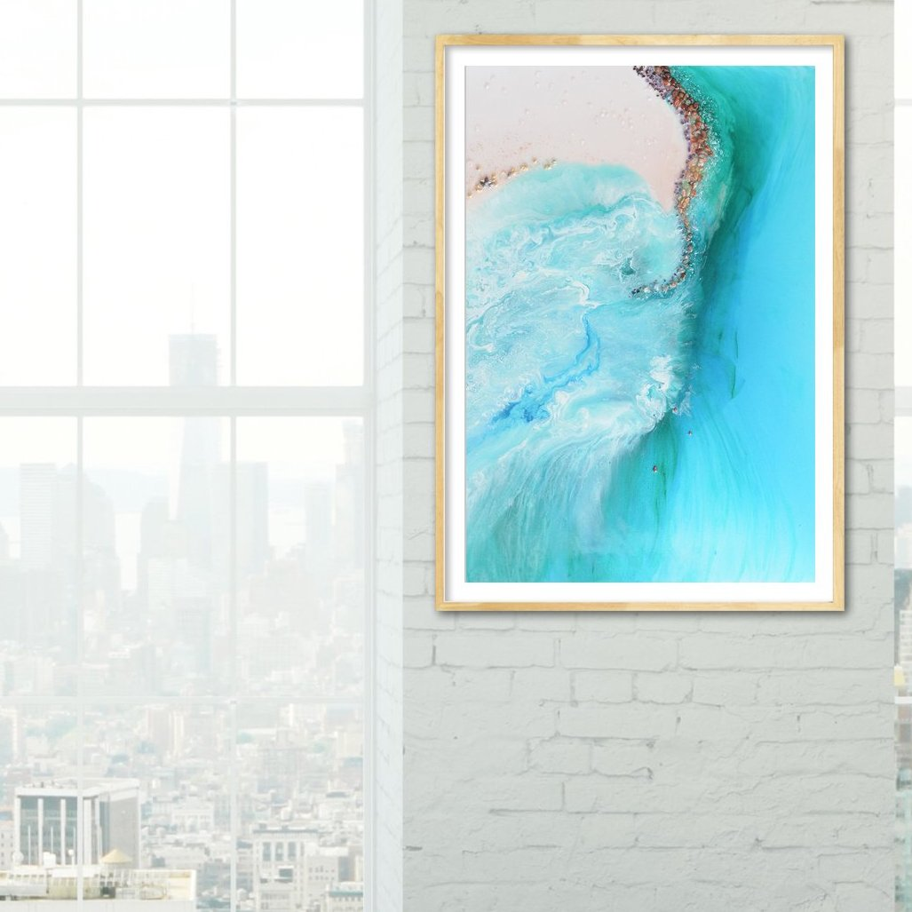 Abstract Coastline. Serenity 1 Ocean Artwork. Art Print. Antuanelle Durdle Door Limited Edition Print
