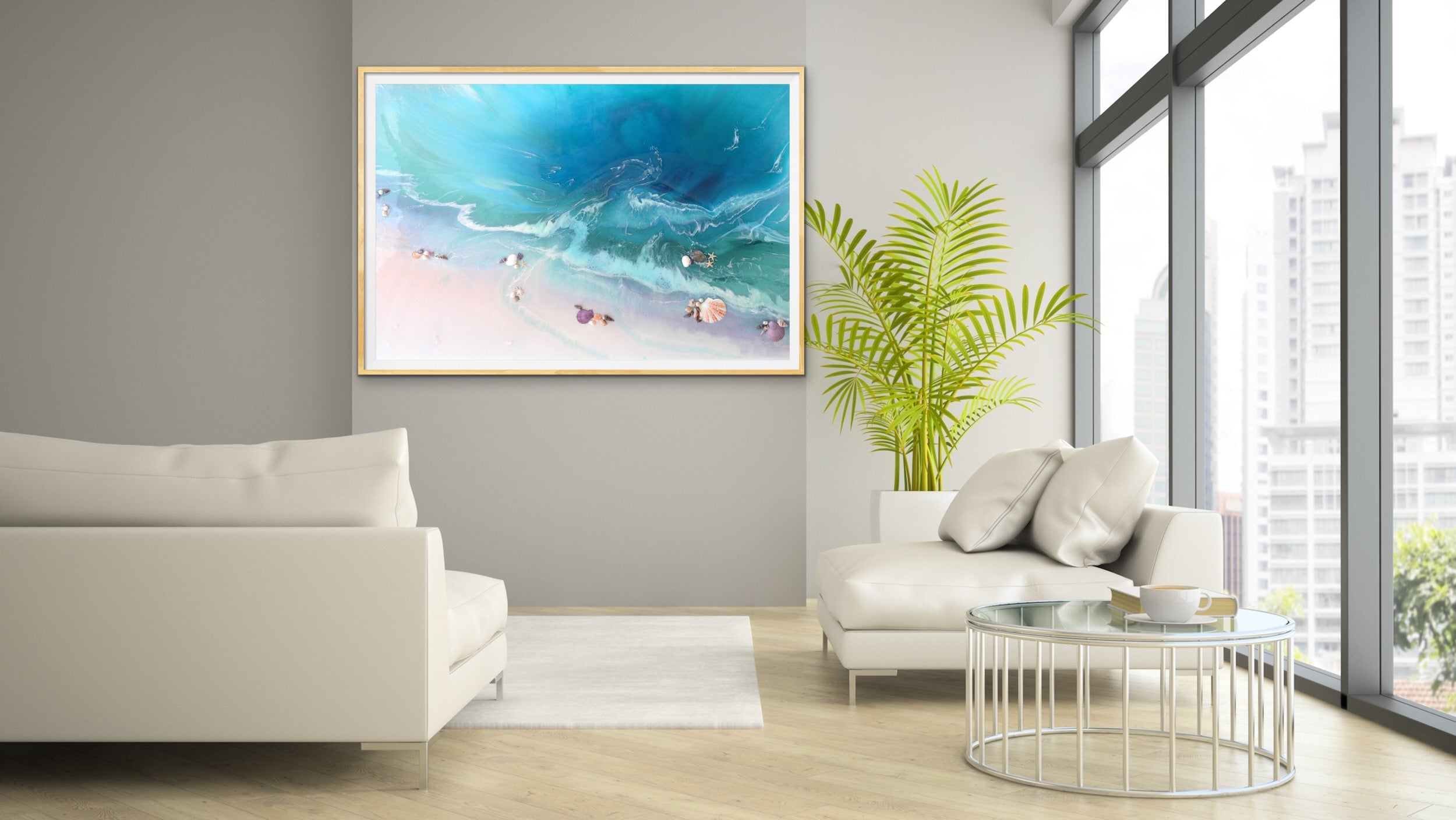 Abstract Seascape. Bright Teal. Bounty Dream. Art Print. Antuanelle 2 Dream Ocean Beach Wall. Limited Edition Print