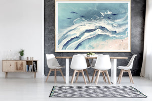 Abstract Seascape. Pastel Greys. Bali Utopia 2. Art Print. Antuanelle 5 Grey Neutral Artwork. Limited Edition Print