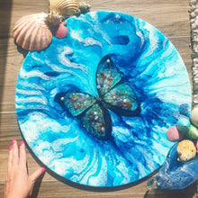 Load image into Gallery viewer, Abstract Butterfly Artwork. Paradisaical Porthole. Farfalla Marina. Antuanelle 1 Blue Morpho Artwork
