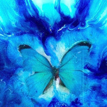 COMMISSION. Blue Butterfly. Abstract Butterfly. Original Artwork.