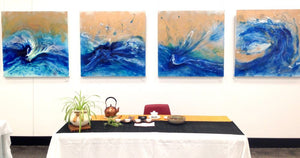 BLUE navy and gold Beach Ocean Abstract Artwork Original 4 Blue Spirits of the - Eagle. Wave