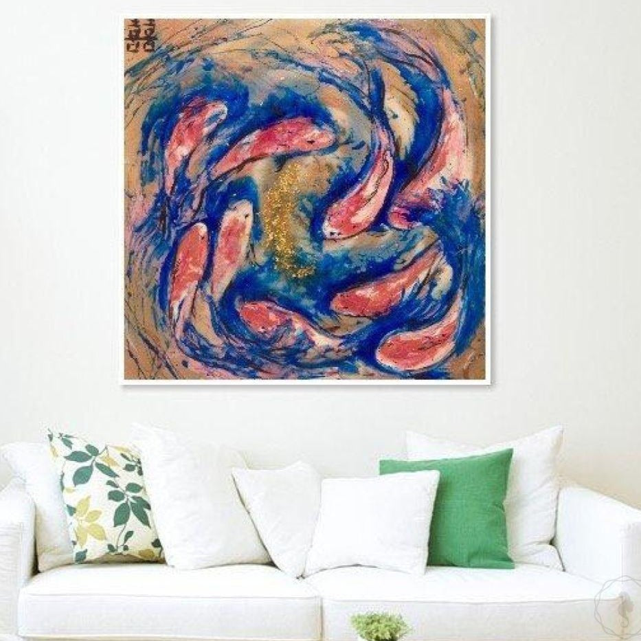 Gold blue and red Artwork. Abstract Koi Fish. Double Luck Antuanelle 1 Chinese Original Artwork