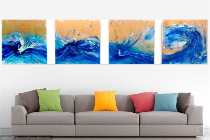 Original Art Blue Spirits Of The Ocean. Abstract Seascape Artwork. Extra Large Artwork. Antuanelle