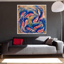 Load image into Gallery viewer, Gold blue and red Artwork. Abstract Koi Fish. Double Luck Antuanelle 3 Chinese Original Artwork