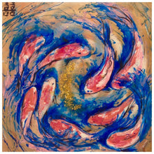 Load image into Gallery viewer, Gold blue and red Artwork. Abstract Koi Fish. Double Luck Antuanelle 2 Chinese Original Artwork