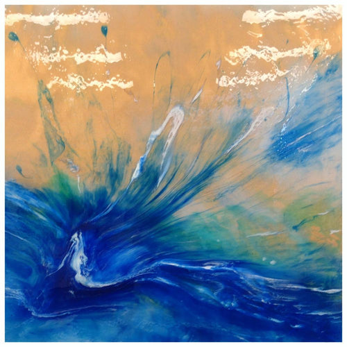 BLUE Abstract Butterfly - Seascape - Teal Blue Ocean Wave 1 Spirits of the Ocean. Butterfly. Original Artwork