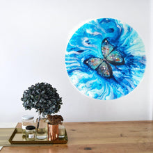 Load image into Gallery viewer, Abstract Butterfly Artwork. Paradisaical Porthole. Farfalla Marina. Antuanelle 2 Blue Morpho Artwork
