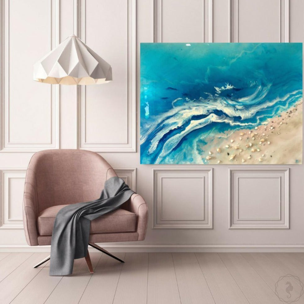 Original Artwork. Aqua seascape. Bali Utopia. Antuanelle. 1 Abstract Ocean. Artwork