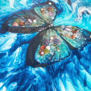 COMMISSION. Farfalla Marina. Original Abstract Butterfly Artwork