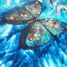 Load image into Gallery viewer, Abstract Butterfly Artwork. Paradisaical Porthole. Farfalla Marina. Antuanelle 3 Blue Morpho Artwork