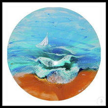 Load image into Gallery viewer, Custom Made. Seascape with Boat. TURQUOISE ocean. Antuanelle 3 Original Artwork. COMMISSION - Artwork