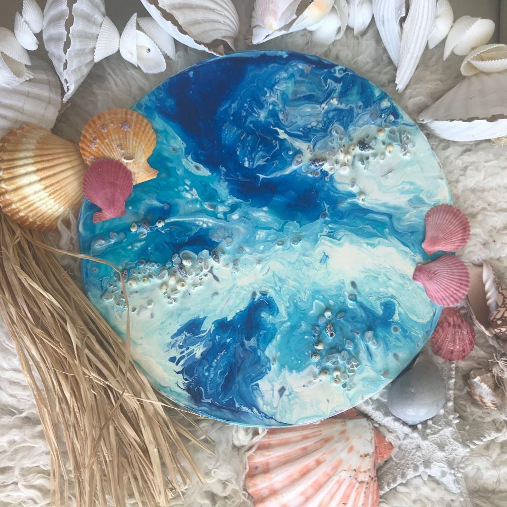 COMMISSION. Summer breeze. Abstract Ocean Artwork