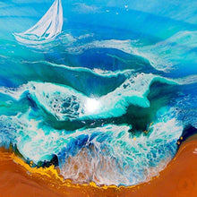 Commisssion. TURQUOISE ocean. Seascape with Boat. Original Artwork.