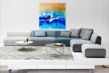 Load image into Gallery viewer, 4 Blue Spirits of the Ocean. Horse. Original Abstract Resin and Gold Artwork