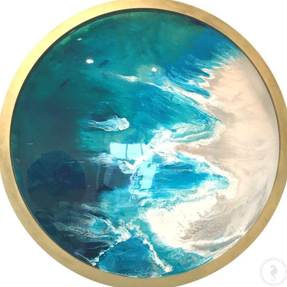 Contemporary blue Artwork. Abstract Beach. Hyams beach. Antuanelle 1 Original Artwork