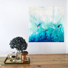 Load image into Gallery viewer, Tropical Resin Artwork with mantas and sailing boats ANTUANELE 1 Timelessness in Ko Bon. Original Abstract Ocean Seascape