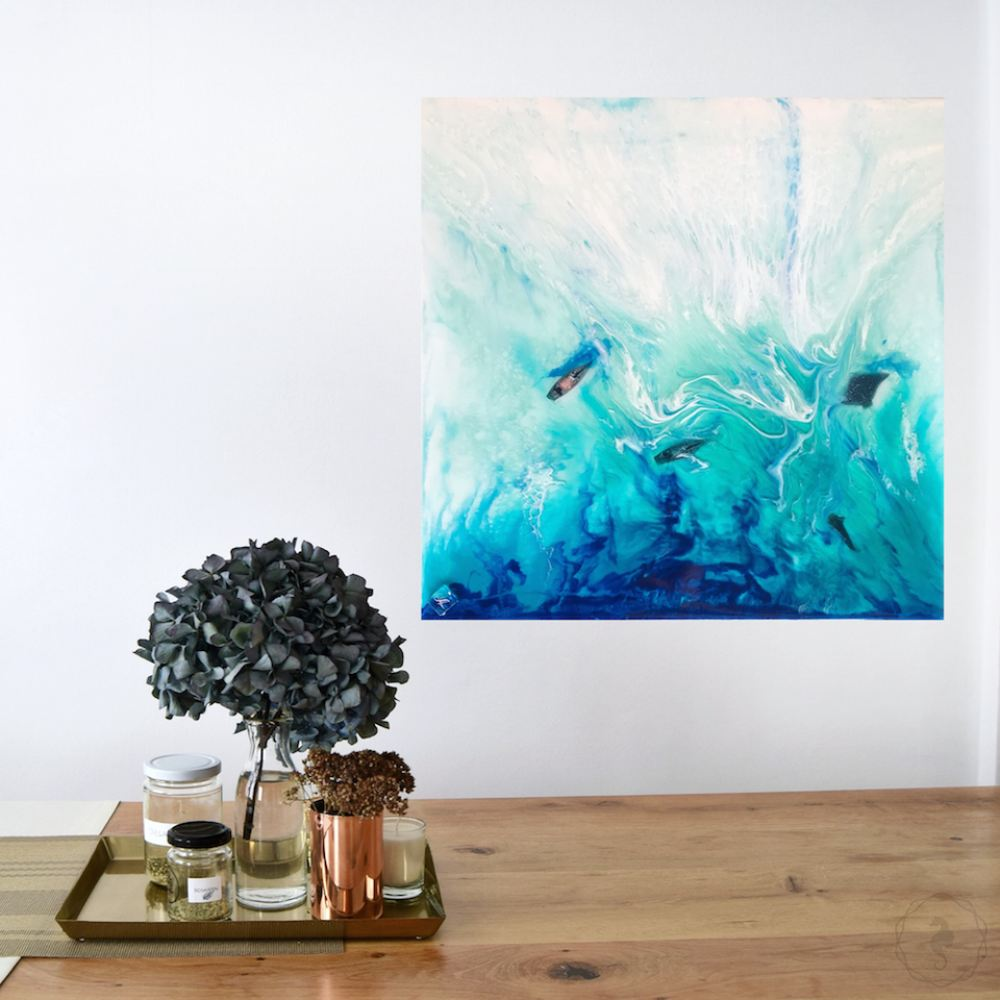 Tropical Resin Artwork with mantas and sailing boats ANTUANELE 1 Timelessness in Ko Bon. Original Abstract Ocean Seascape
