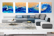Load image into Gallery viewer, 5 Blue Spirits of the Ocean. Horse. Original Abstract Resin and Gold Artwork