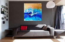 Load image into Gallery viewer, 3 Blue Spirits of the Ocean. Horse. Original Abstract Resin and Gold Artwork
