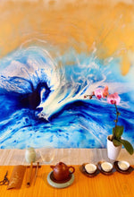Load image into Gallery viewer, 2 Blue Spirits of the Ocean. Horse. Original Abstract Resin and Gold Artwork