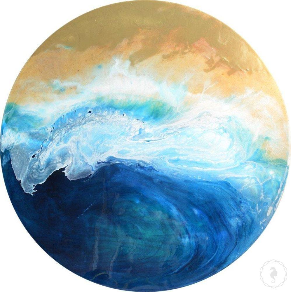 Round yellow and blue coastal abstract artwork