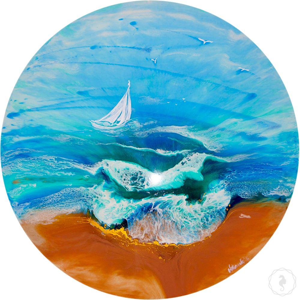 Turquoise artwork. Seascape with yacht. TURQUOISE ocean. Antuanelle 1 Original Artwork.