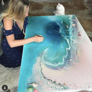 Antuanelle painting the rectangular abstract coastal artwork
