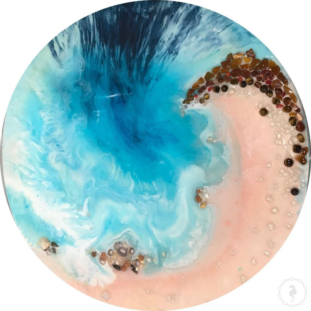 Abstract Coastal tide artwork with real gemstones and shells