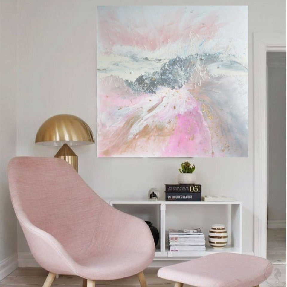 Pink and white. Abstract Artwork. Angelic Dreams. Antuanelle 1 Original Artwork
