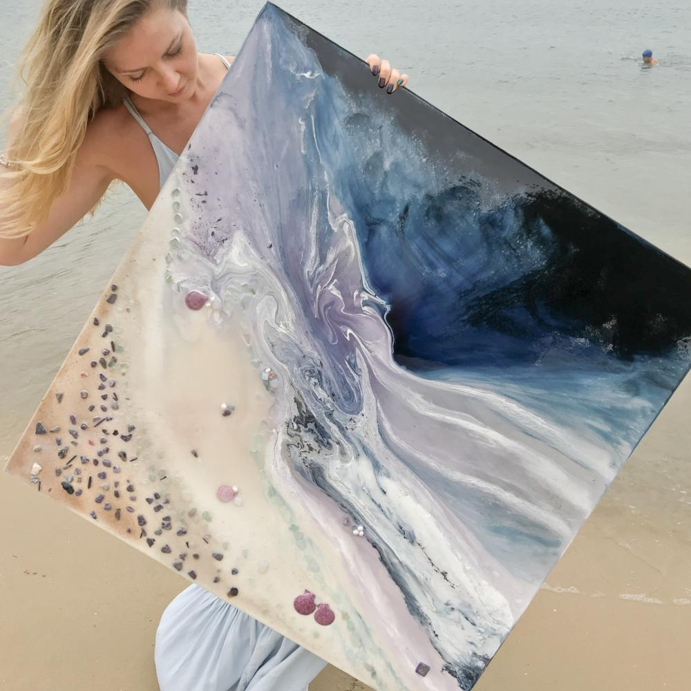 Twilight Date. Abstract Seascape. Original Artwork with Moonstone and Pearls. COMMISSION. Custom 1