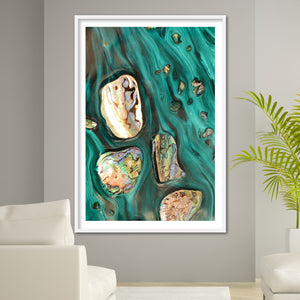 Abstract Art. Rise Above Tide 3 Coastal Shells. Art Print. Antaunelle 5 Shells Artwork. Limited Edition Print